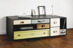 Combine old dresser shelves into an eclectic recreation.