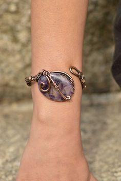 Amethyst  wire wrapped bracelet adjustable by CopperingJewelry