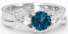 London Blue Topaz Engagement Rings in 14k White Gold