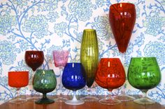 Midcentury goblets. Vintage low board decorations.