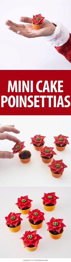 Mini Poinsettia Cakes - festive holiday desserts you can make for Christmas   Cakegirls for TheCakeBlog.com