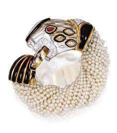 18 Karat Gold, Platinum, Rock Crystal, Diamond, Ruby, Enamel and Cultured Pearl Bracelet, David Webb, Circa 1973