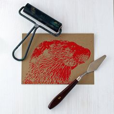 River Otter Greeting Card, Wildlife Card, Invitation, Thank You Card, Block Print Card, Birthday Card, Holiday Card - Ryer