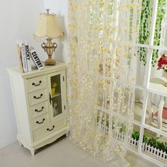 Factory Price! 5 Colors Scarf Sheer Voile Door Window Curtains Drape Panel Valance Curtains