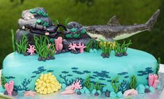 100 Serving Ocean Themed Cake For Surprise 50Th Birthday Party Vanilla Cake With…