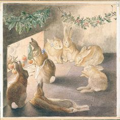 Beatrix Potter (1866-1943)  'The Rabbits' Christmas Party'  About 1890  Watercolour  Museum no. LB.1005  © Frederick Warne & Co. 2007