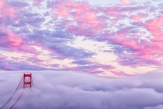 Print Golden Gate Bridge at Sunset - Beautiful San Francisco Fog and Clouds Photo - Stunning Pink & Purple Colors - California Art For Sale