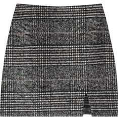 Glen Plaid Check H-Line Mini Skirt (582.650 IDR) ❤ liked on Polyvore featuring skirts, mini skirts, mid thigh skirts, button down skirt, checked skirt, short skirts and button up skirt