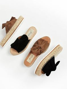 Suede Samantha Flatform Sandal | Perfect femme sandal for the season, these comfortable flatforms feature a cute suede bow detail on the top of the foot. * Raffia flatform * Padded footbed