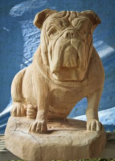The major breeds of bulldogs are English bulldog, American bulldog, and French bulldog. The bulldog has a broad shoulder which matches with the head. Whittling Wood, Tree Carving, Wood Carving Patterns, Intarsia Woodworking, Wood Creations, Wood Engraving, Wood Sculpture, Tree Art, Dog Art