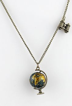 Globe and binoculars necklace