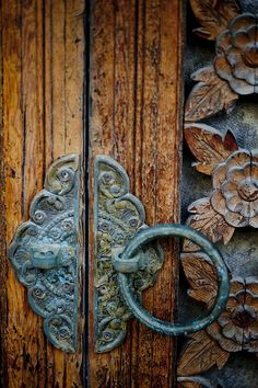♂ Aged with beauty rustic blue door handle