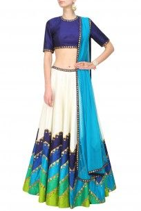 Ivory and shades of blue and green sequins embroidered lehenga set
