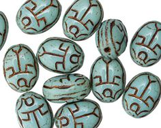 Czech Glass Bronzed Turquoise Scarab 18x12mm