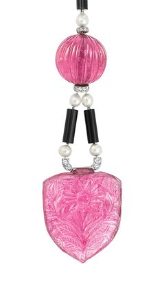 Art Deco Platinum, Carved Pink Tourmaline, Black Onyx, Pearl and Diamond Pendant-Necklace, Cartier