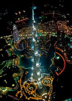 A beautiful and colorful view of world's tallest building, Burj Khalifa, Dubai