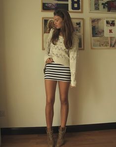 dress with knit top and boots