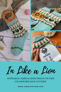 In Like a Lion Sock Kit – Yarn Love  Knit up your own pair of adorable Lion Knitting Patterns Free, Free Knitting, Jack Sock, Lion And Lamb, Yarn Inspiration, Sock Knitting, Diy Art Projects, Knit Picks, Hand Dyed Yarn