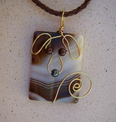 Wire Dog on Striped Agate Pendant by jillmh123 on Etsy, $14.50