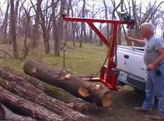 Log Lift - Homemade log lift constructed from tubing, chain, and a battery-operated winch.