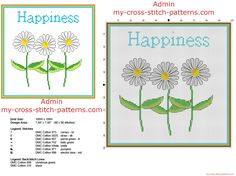 Cross stitch home painting idea with three daisy flowers and text Happiness free download in 100 sti