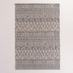 One of my favorite discoveries at WorldMarket.com: 4'x6' Floral and Gray Striped Indoor-Outdoor Rug