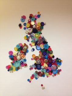Button art craft UK map wall art colourful CAN DO WITH ANY STATE OR COUNTRY, MAYBE CUT OUT MAP TO USE BEHIND