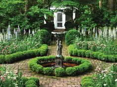 Garden with Fountain and Brick Path