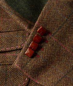 Men's Tweed Multi Check Gamekeeper Jacket | Brown Holland Esquire