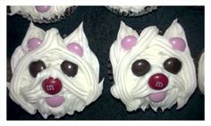 Puppy Cupcakes for a Birthday Girl! Puppy Cupcakes, Puppy Cake, Animal Cupcakes, Cute Cupcakes, Birthday Cupcakes, Cupcake Day, Cupcake Cakes, Little Debbie Snack Cakes, Starbucks Birthday