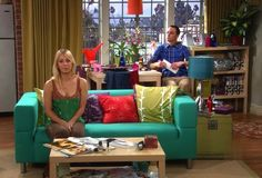 penny's apartment. I want that teal Klippan couch from Ikea for my dorm room!!!