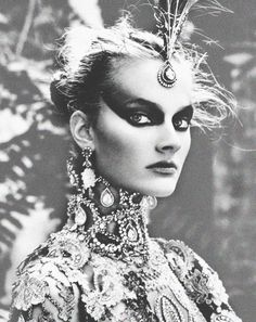 dreamcliq:  Constance Jablonski wears the Matadit jewel suit from the Christian Dior Haute Couture Fall/Winter 1997 collection Photograph by...
