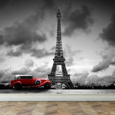 Wall Mural Eiffel Tower in Paris and Retro red by RoyalWallSkins