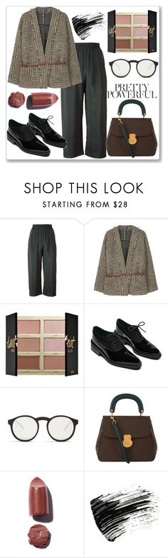 """""""Powerful"""" by ludmyla-stoyan ❤ liked on Polyvore featuring MM6 Maison Margiela, MANGO, tarte, Oxford, Le Specs, Burberry, Marc Jacobs, belt, striped and jacket"""