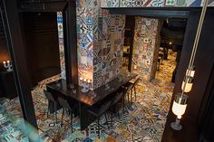 Gorgeous Mexican tiles cover this restaurant #dreamkitchen