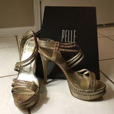 Pelle Moda gold snake skin heels Originally $130, worn only once, original box Pelle Moda Shoes Heels