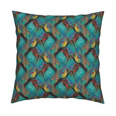 Catalan Throw Pillow featuring GARDEN LATTICE LAVA LAMP EMERALD TEAL PSYCHEDELIC FEVER by paysmage | Roostery Home Decor