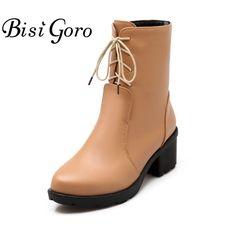 >> Click to Buy << BISI GORO Thick Heel Shoes Women Lace Up Short Martin Boots Heels Horse Riding Boots Autumn Winter Boots Female Bota Feminina #Affiliate
