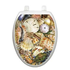 Tidal Treasures Toilet Seat cover decoration. Everyone will be delighted when they visit your bathroom with this adorable reusable applique. This decorative lid applique is hygienic, reusable, removable and easily apply. <br /> (Only works with smooth surfaced toilet lids.Will not work with wood lid.)<br />  Clings to your lid by electrostatic energy no adhesive...