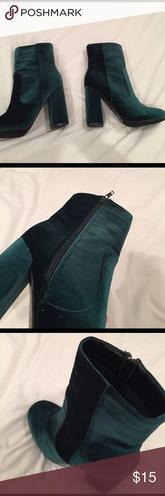 Velvet green heel boot Green velvet heeled boot AKIRA Shoes Heeled Boots