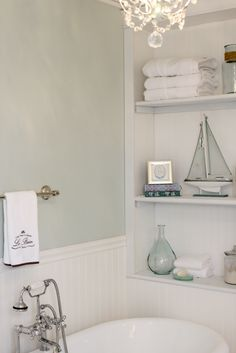 This room is never left out when we style our properties...see the effect here from another site. Love this bathroom - Sherwin-Williams Sea Salt