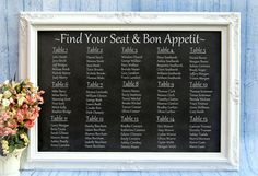 WEDDING SEATING CHART Ideas Decorations Chalkboard Framed White Unique Wedding Ideas Chalkboard Wedding Menu Display Board Wedding Signs. $239.00, via Etsy.