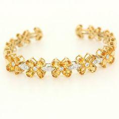 Vintage 18 Karat Yellow Gold Citrine Diamond Flower Cuff Bracelet Estate Jewelry