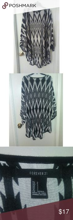 Forever 21 Cardigan Elbow length cardigan, black and white tribal design, gently worn Forever 21 Tops