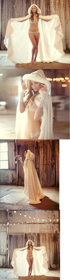Wraps and Jackets 105472: Hot Long Warm White Ivory Bridal Winter Wedding Cloak Cape Faux Fur Hood Jacket -> BUY IT NOW ONLY: $52.99 on eBay!