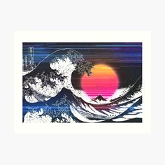Great Wave Glitch by ind3finite | Redbubble Retro Aesthetic, Vaporwave, Top Artists, Glitch, Waves, Tapestry, Artwork, Art Work, Tapestries