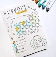 workout bullet journal page - workout bullet journal & workout bullet journal layout & workout bullet journal fitness planner & workout bullet journal ideas & workout bullet journal doodles & workout bullet journal tracker & workout bullet journal page Bullet Journal Exercise Tracker, Bullet Journal Weight Loss Tracker, Self Care Bullet Journal, Bullet Journal Notebook, Bullet Journal Aesthetic, Bullet Journal Themes, Bullet Journal Health, Bullet Journals, Bullet Journal How To Start A Layout