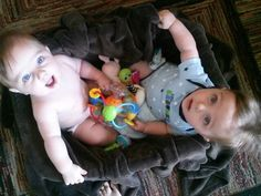 Tyson and Jackson playing together, while i cooked dinner. #twintime #myloves #cuteness
