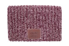 This beanie is knit from 100% cotton yarn in burgundy and natural colors and features a brown leather patch debossed with the Love...
