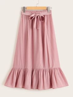 Style: CasualColor: PinkPattern Type: PlainLength: Long/Full LengthType: A LineDetails: Belted, Ruffle HemSeason: Spring/Summer/FallComposition: PolyesterMaterial: PolyesterFabric: Fabric has no stretchWaist Type: Mid WaistBelt: YesLining: No Full Skirt Outfit, Casual Skirt Outfits, Modest Outfits, Skirt Fashion, Fashion Outfits, Tall Women Fashion, Tie Skirt, Skirt Belt, Split Skirt